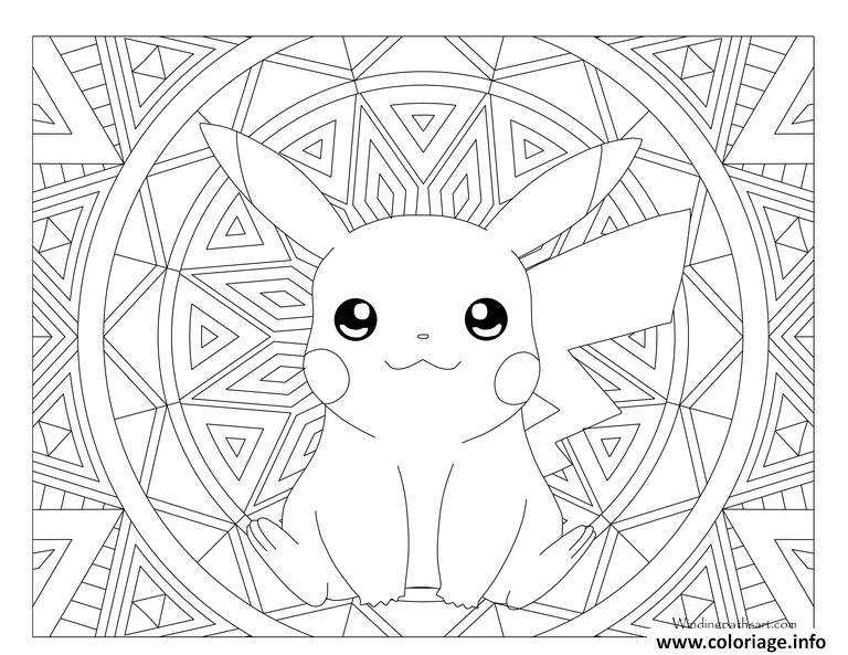 Coloriage adulte pokemon pikachu dessin - Coloriage de pikachu ...