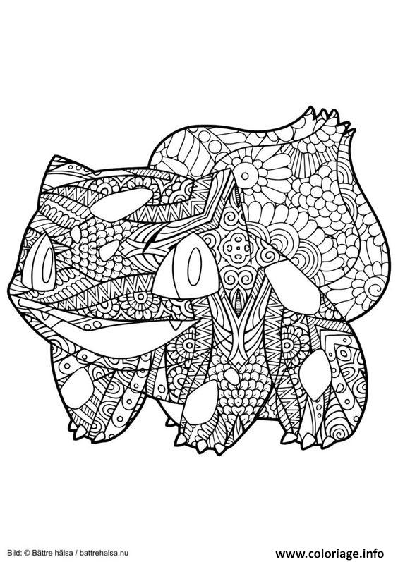Coloriage Mandala Pokemon Bulbizarre Bulbasaur Dessin