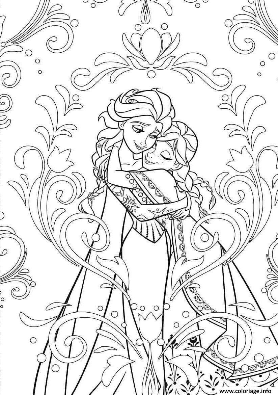 Coloriage Mandala Disney Frozen Elsa Anna Princess Jecolorie Com