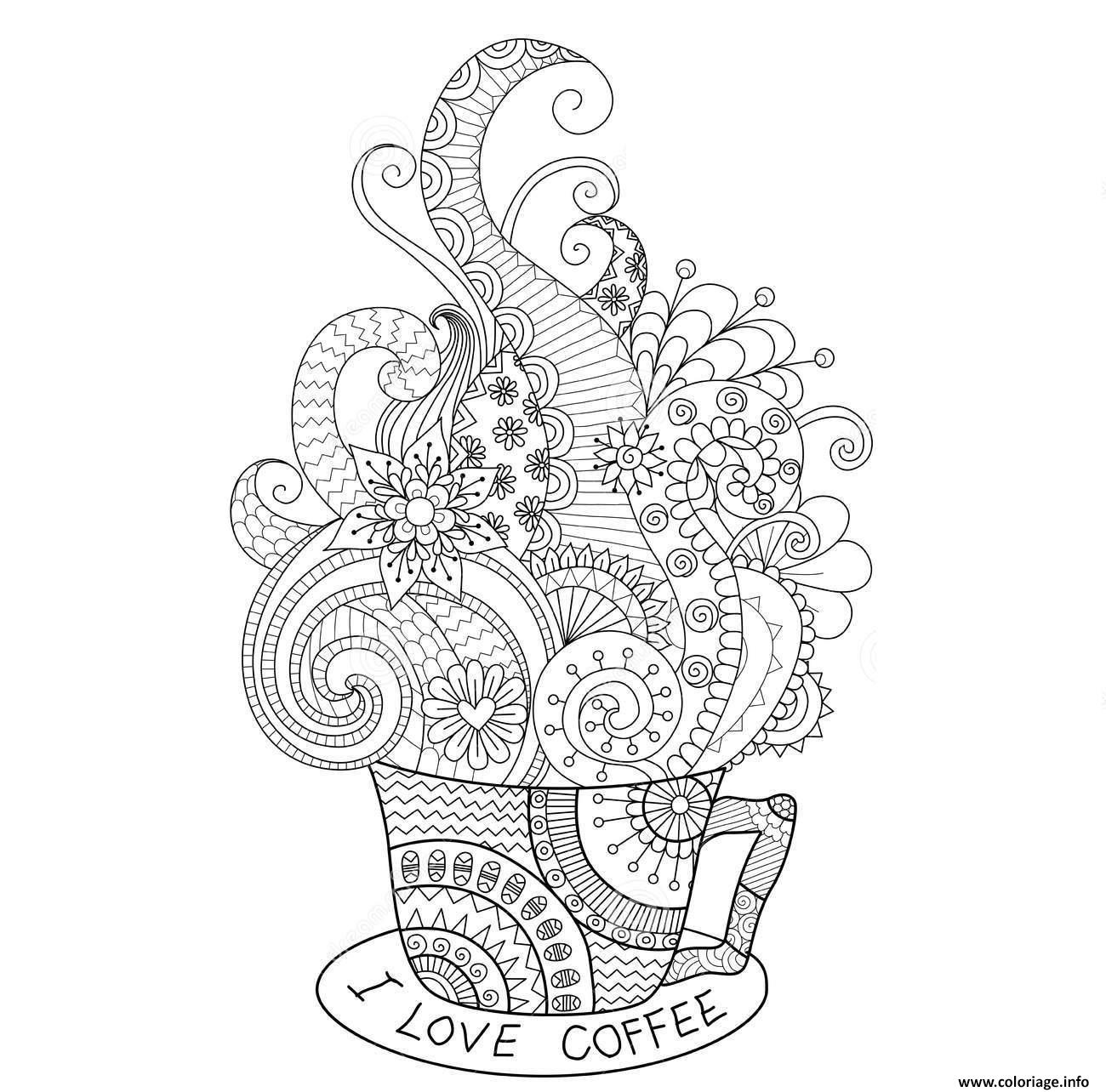 Dessin cup hot coffee zentangle design adulte Coloriage Gratuit à Imprimer