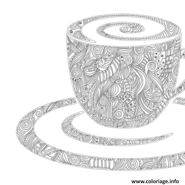 Dessin mandala cafe dessin Coloriage Gratuit à Imprimer