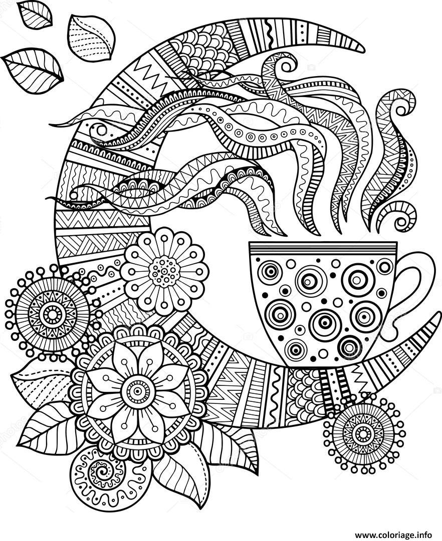 coloriage mandala cafe tasse pour adulte. Black Bedroom Furniture Sets. Home Design Ideas