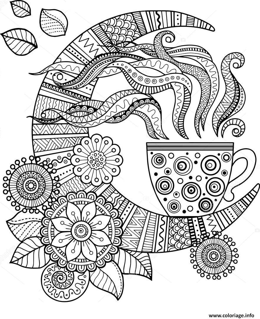 Coloriage Mandala Cafe Tasse Pour Adulte Dessin Cafe à ...