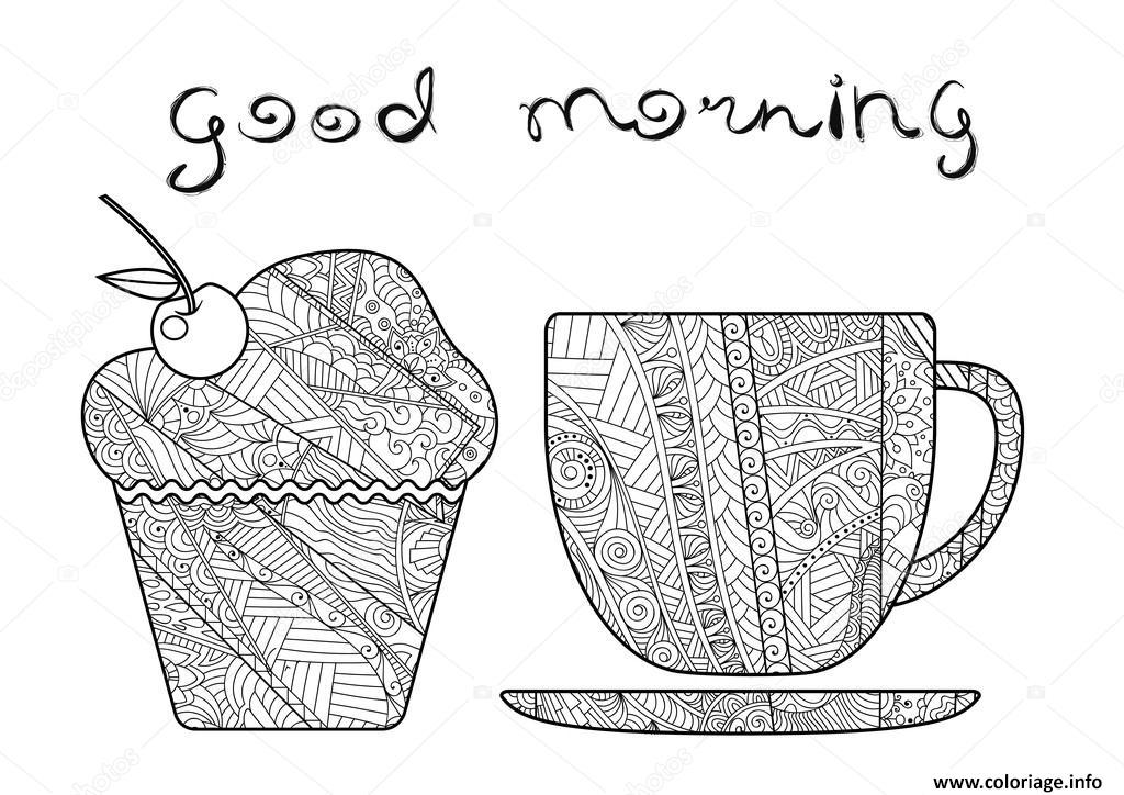 coloriage bon matin tasse de cafe. Black Bedroom Furniture Sets. Home Design Ideas