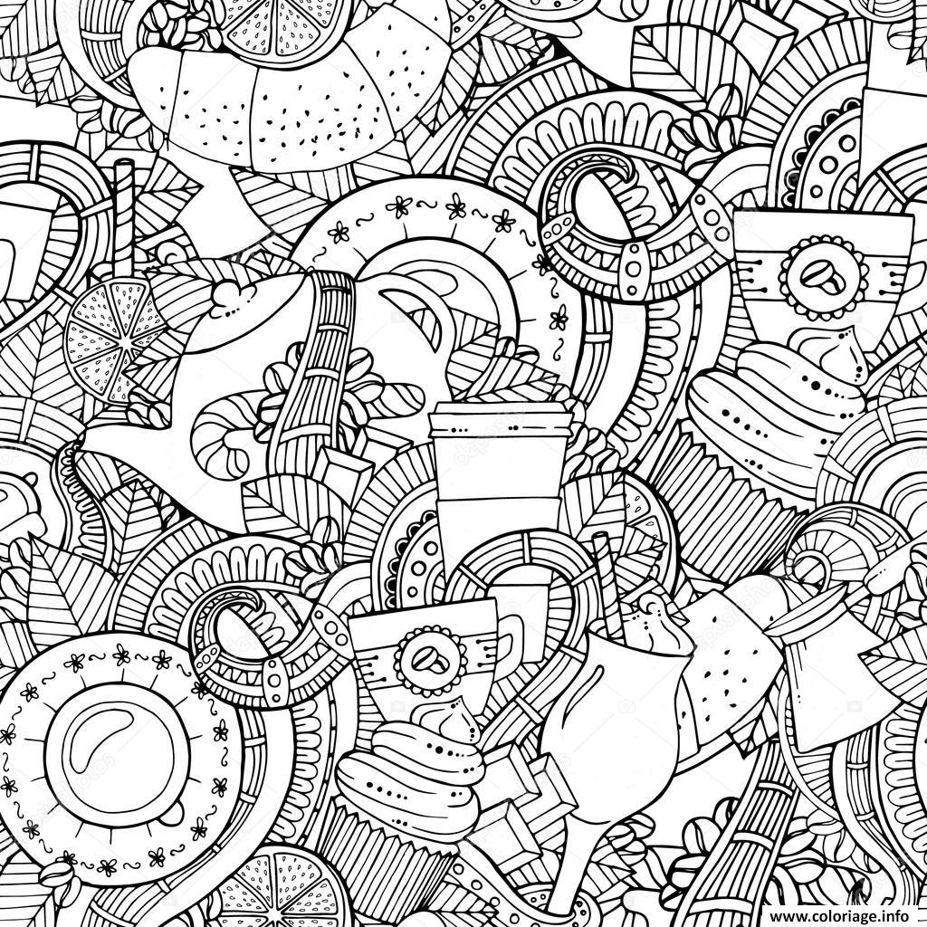 Dessin mandala cafe the stock illustration coffee and tea doodle background Coloriage Gratuit à Imprimer