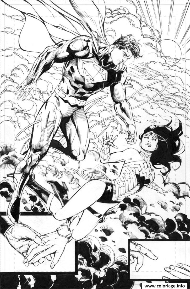 Dessin superman helps wonder woman by battinks Coloriage Gratuit à Imprimer