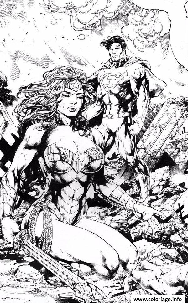 Dessin wonder woman and superman by_miltonwiller Coloriage Gratuit à Imprimer