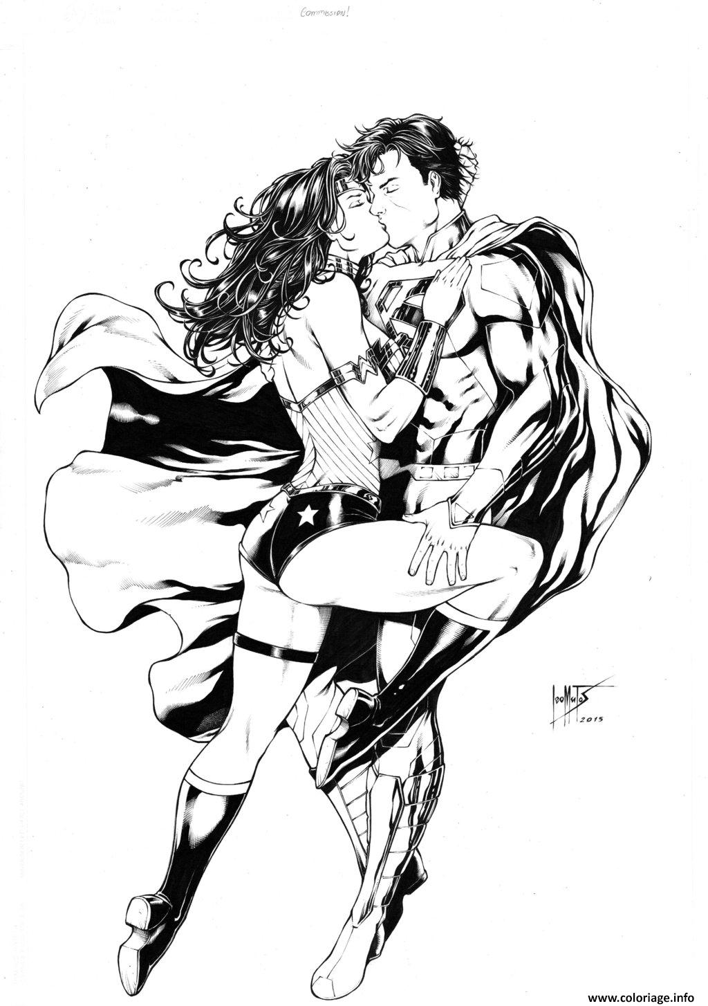 Dessin superman and wonder woman par leomatos dc comics Coloriage Gratuit à Imprimer