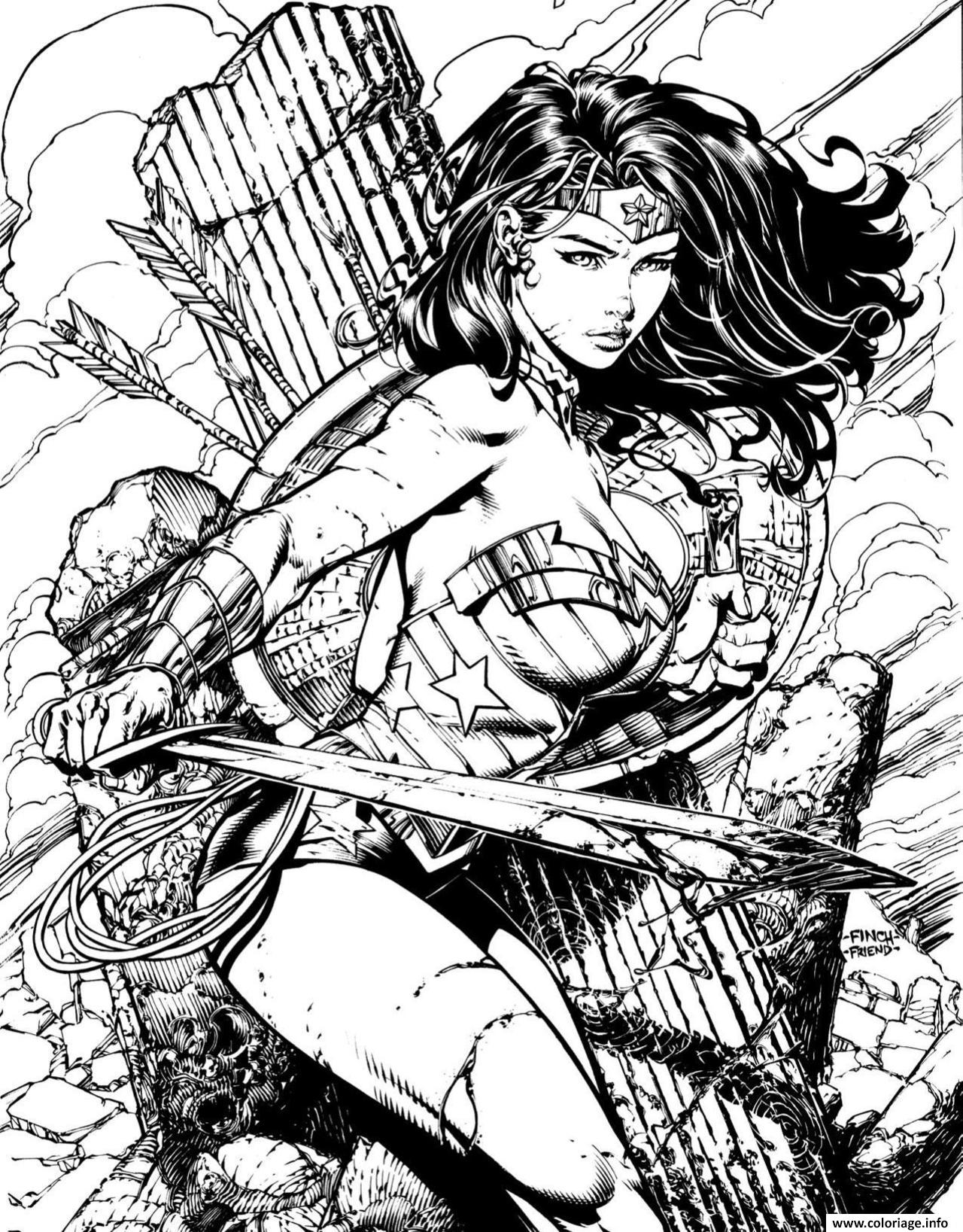 Dessin wonder woman pour adulte book dc comics Coloriage Gratuit à Imprimer