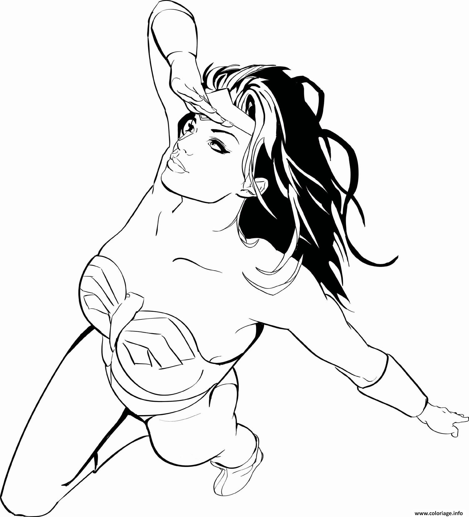 Dessin wonder woman is looking pour superman adulte dc comics Coloriage Gratuit à Imprimer
