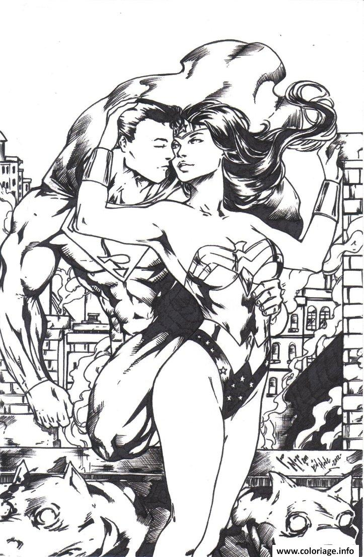 Dessin wonder woman sexy superman kiss pour adulte dc comics Coloriage Gratuit à Imprimer