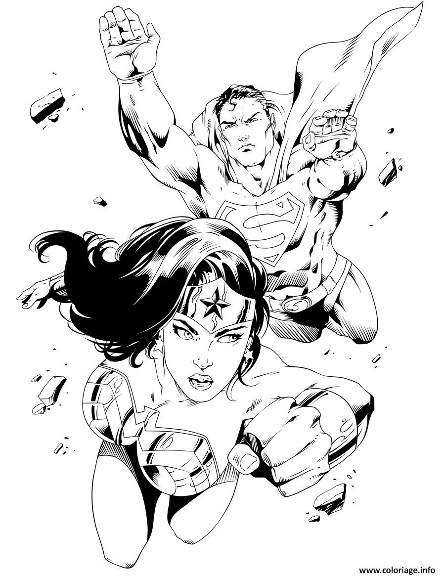 Coloriage Wonder Woman With Superman Pour Adulte Dc Comics