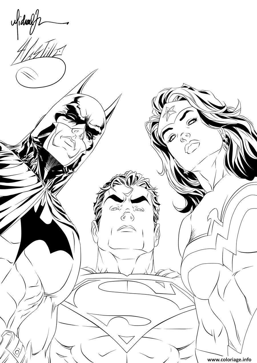 Dessin batman superman wonder woman looking at you pour adulte dc comics Coloriage Gratuit à Imprimer