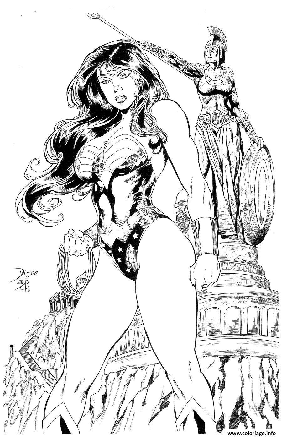 Dessin wonder woman in italy adulte par barquiel dc comics Coloriage Gratuit à Imprimer