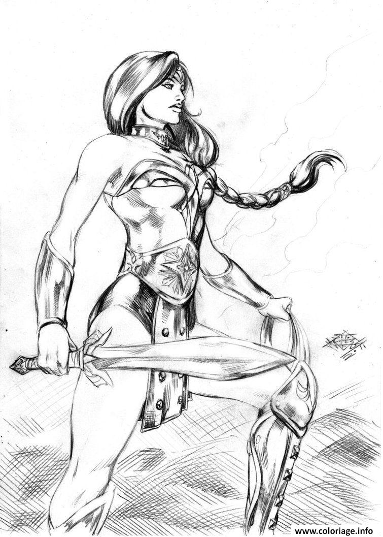 Dessin super wonder woman art adulte dc comics Coloriage Gratuit à Imprimer