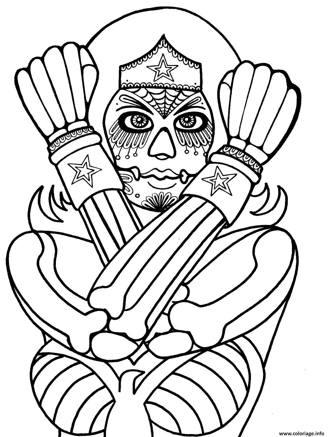 Dessin wonder woman mandala doodle adulte dc comics Coloriage Gratuit à Imprimer
