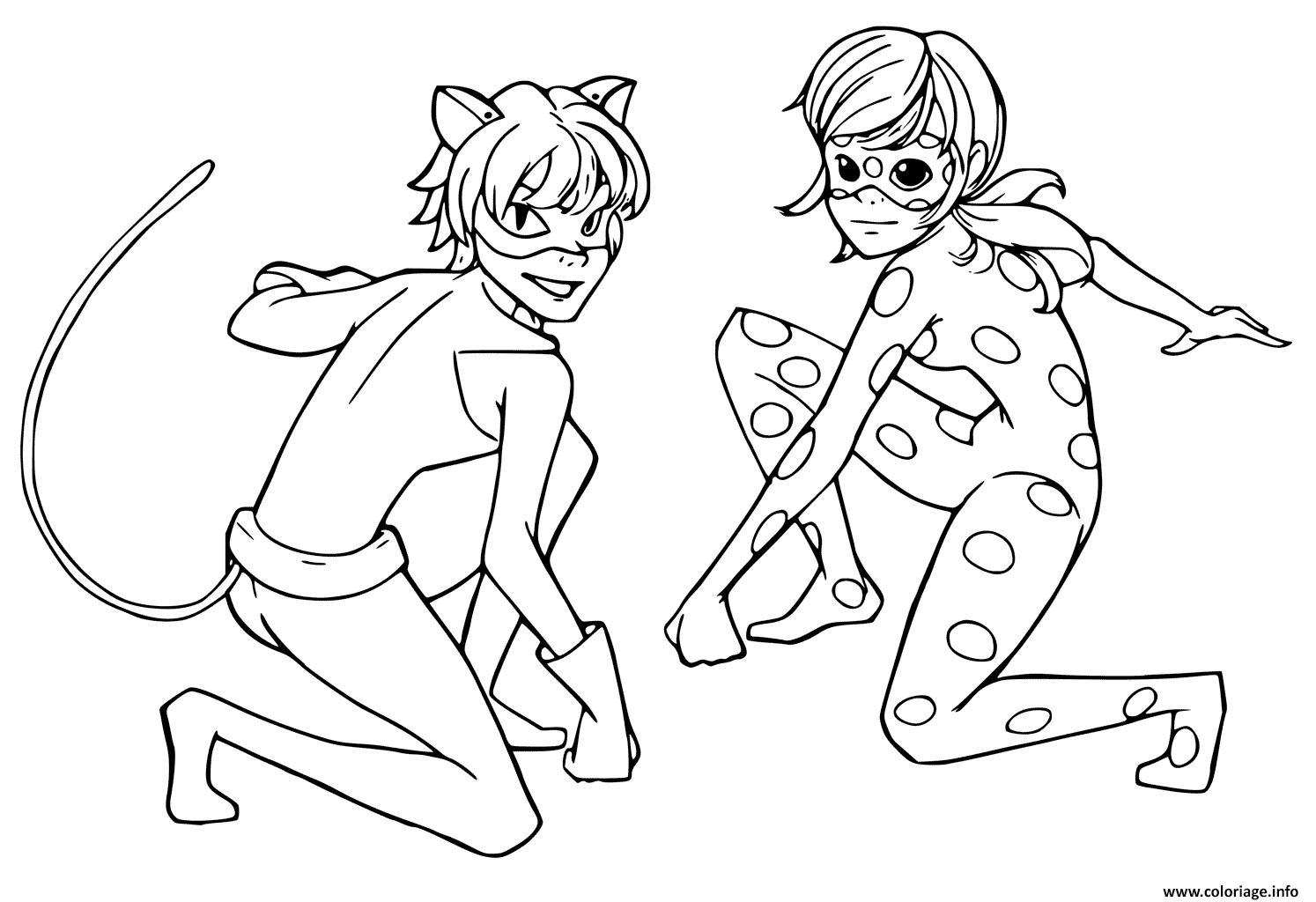 Coloriage Miraculous Tales Of Ladybug Chat Noir Enfants Jecolorie Com