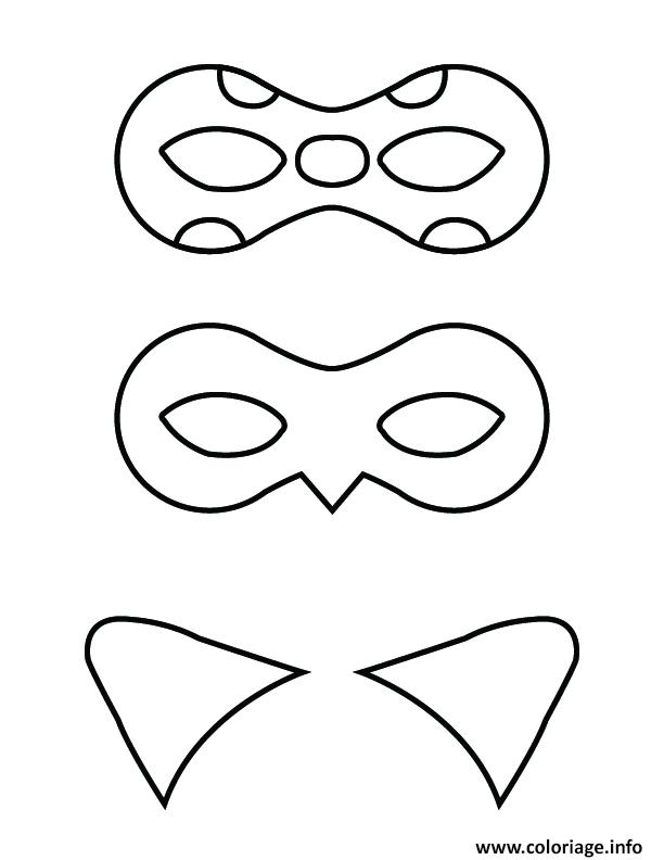 Coloriage ladybug et chat noir mask dessin - Chat coloriage masque ...