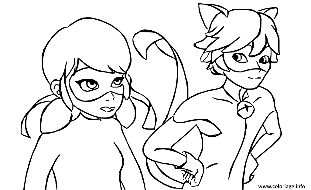 Coloriage Ladybug Et Chat Noir Are Talking Jecolorie Com