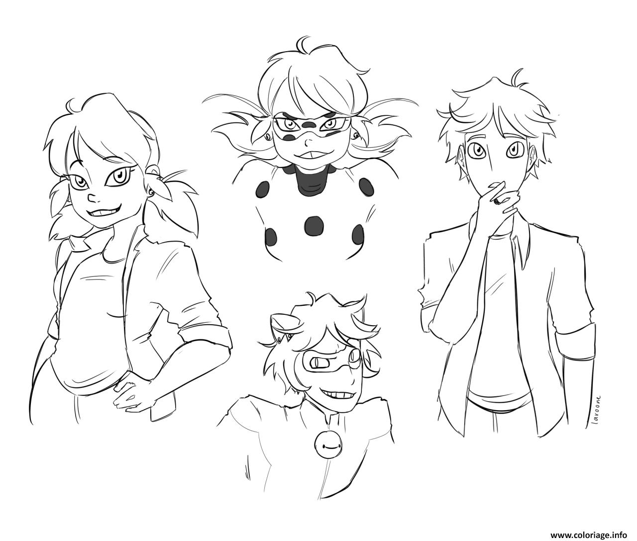 Coloriage Personnages Demiraculous Ladybug Chat Noir Dessin