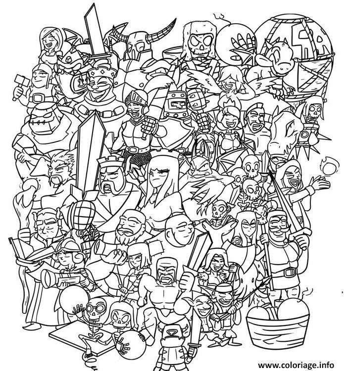 Clash Of Clans Coloring Pages Pdf : Coloriage clash royale tous les personnages dessin