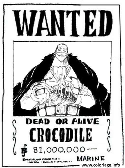 Coloriage one piece wanted crocodile dead or alive dessin - Dessin a imprimer one piece ...