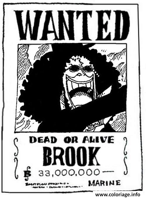 Coloriage one piece wanted brook dead or alive - Dessin a imprimer one piece ...