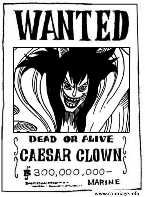 Coloriage One Piece Wanted Caesar Clown Dead Or Alive Dessin à Imprimer