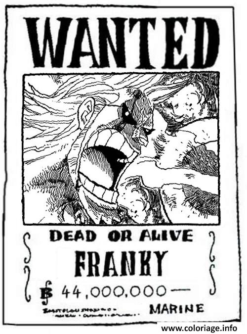 Coloriage one piece wanted franky dead or alive dessin - Dessin a colorier one piece ...