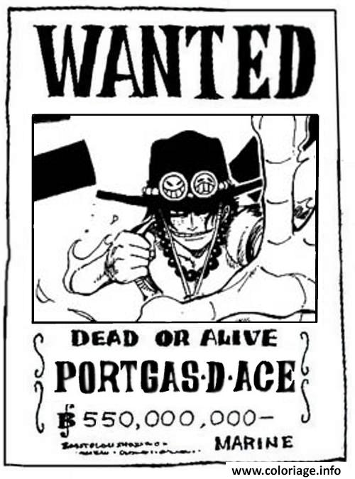 Coloriage One Piece Wanted Portgasdace Dead Or Alive Dessin