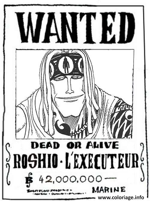coloriage one piece wanted roshio lexecuteur dead or alive dessin