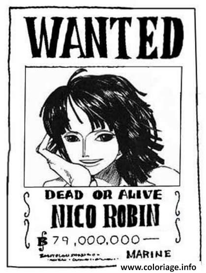 Dessin one piece wanted nico robin dead 2 or alive Coloriage Gratuit à Imprimer
