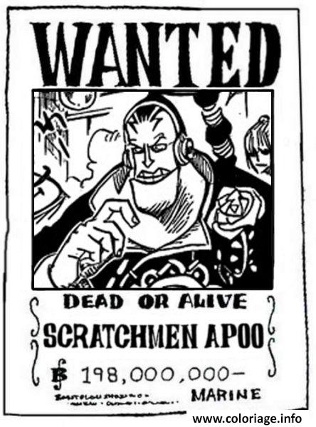 Coloriage One Piece Wanted Scratchmen Apoo Dead Or Alive Dessin