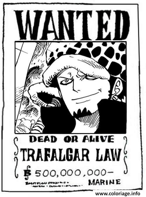 Coloriage one piece wanted trafalgar law dead or alive dessin - Coloriage one piece wanted ...
