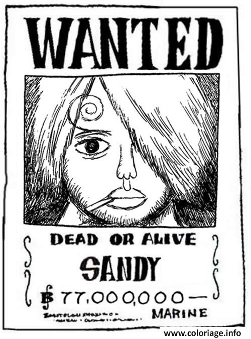 Coloriage one piece wanted sandy dead or alive dessin - Coloriage one piece wanted ...