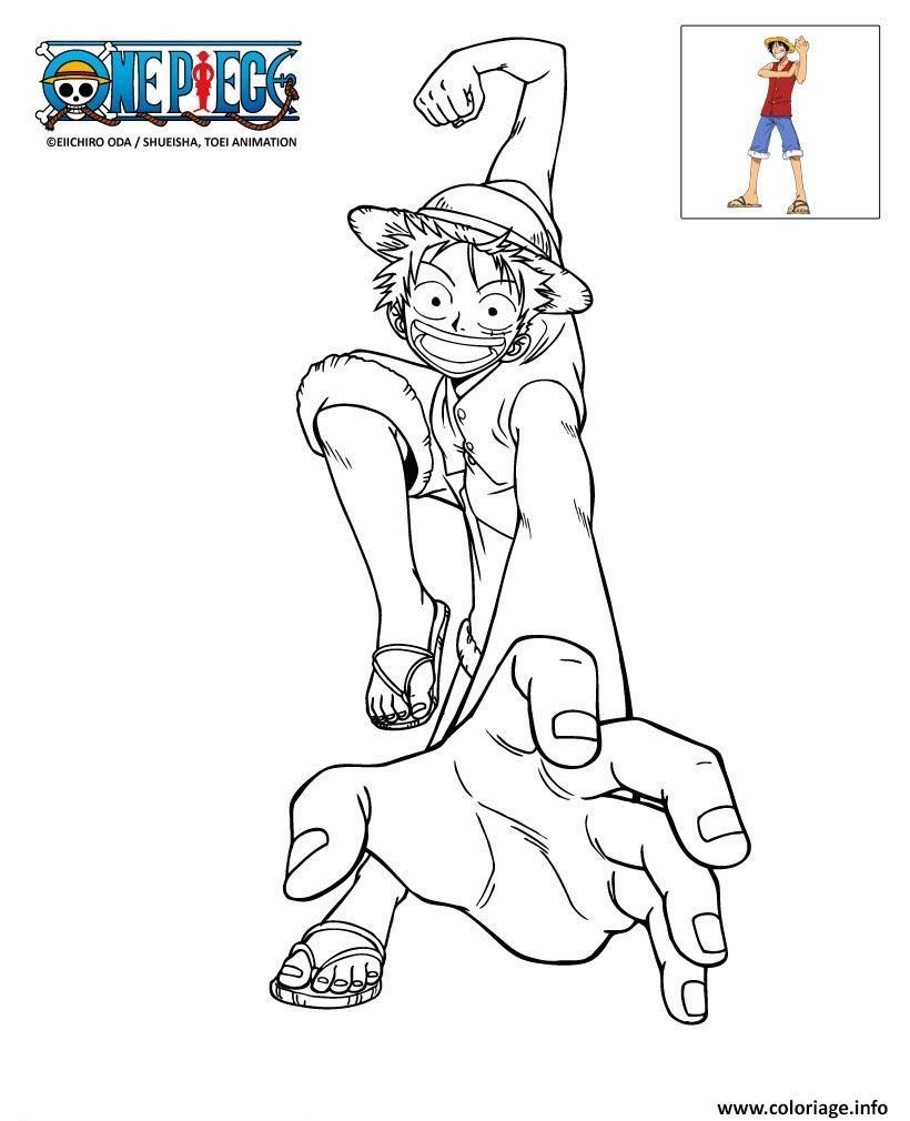 Coloriage Onepiece Luffy En Action Jecolorie Com