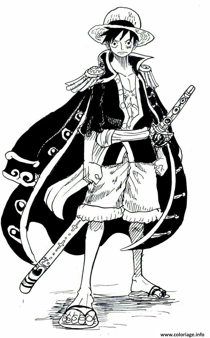 Coloriage monkey d luffy cool outfit one piece manga - Dessin a imprimer one piece ...