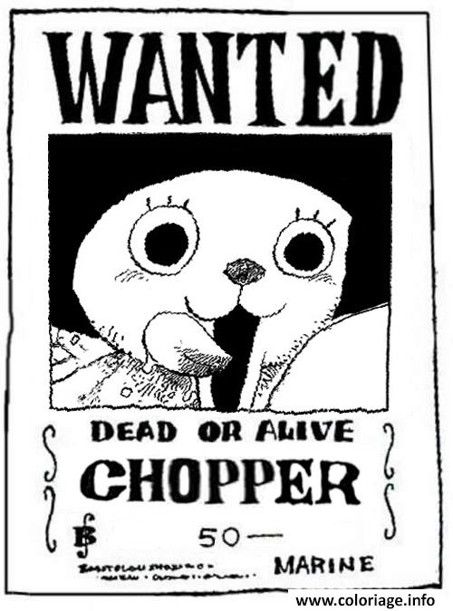 Coloriage One Piece Wanted Chopper Dead Or Alive Jecolorie Com