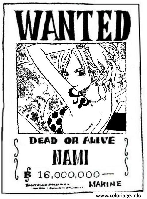 Coloriage One Piece Wanted Nami Dead Or Alive Dessin