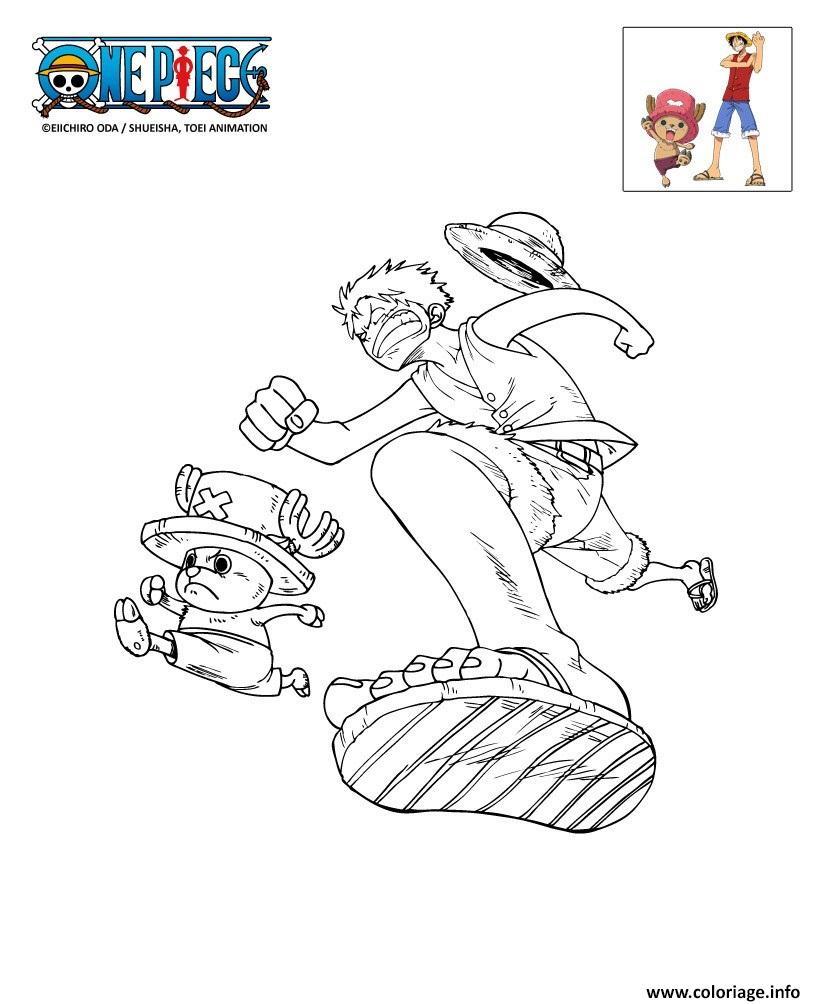 Coloriage Onepiece Luffy Et Chopper En Plein Course
