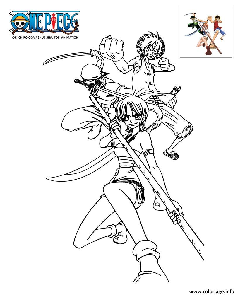 Coloriage one piece trois personnages - One piece coloriage ...