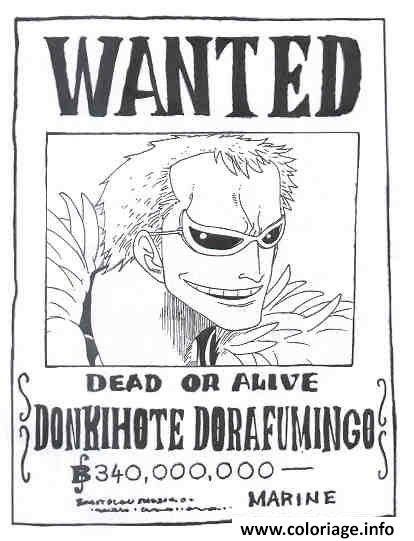 Coloriage one piece wanted donkihote dorafumingo dead or - One piece a imprimer ...