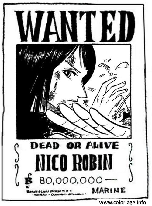 Coloriage one piece wanted nico robin dead or alive dessin - Dessin a imprimer one piece ...