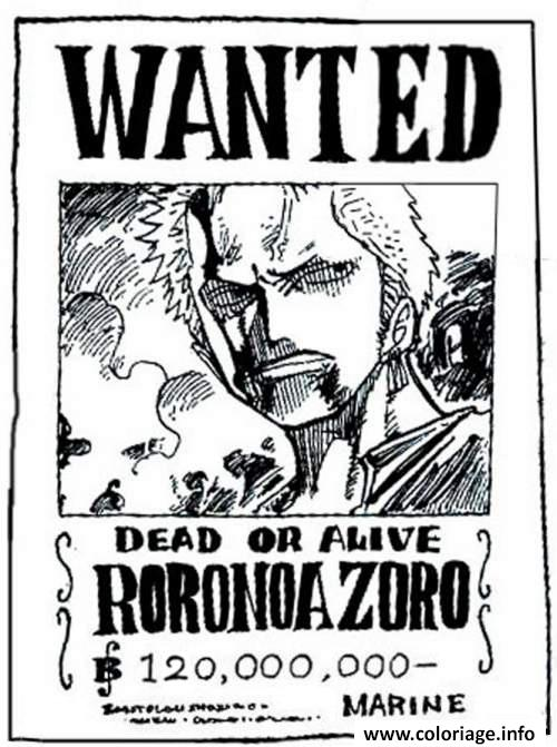 Coloriage One Piece Wanted Roronoa Zoro Dead Or Alive Dessin à Imprimer