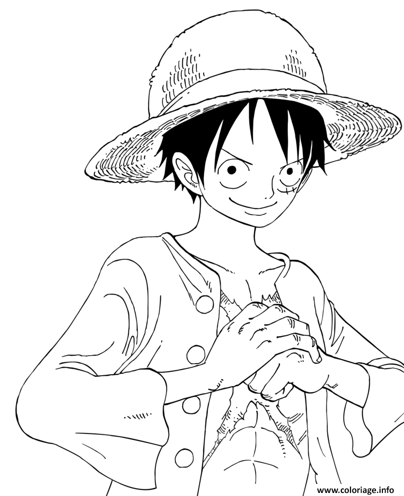 Coloriage luffy onepiece reflexion sourire confiant dessin - One piece coloriage ...
