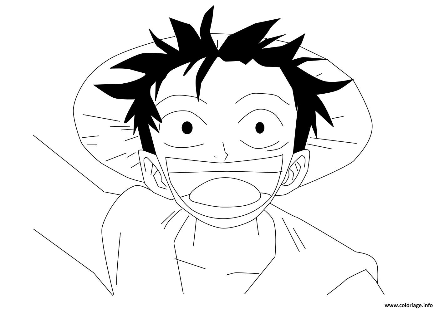 Coloriage one piece luffy trop heureux dessin - One piece dessin zoro ...