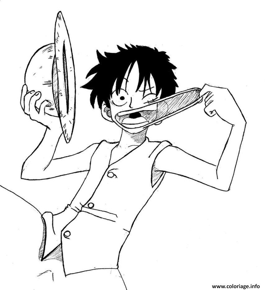 Coloriage One Piece Luffy Rigole By Eseyy Dessin