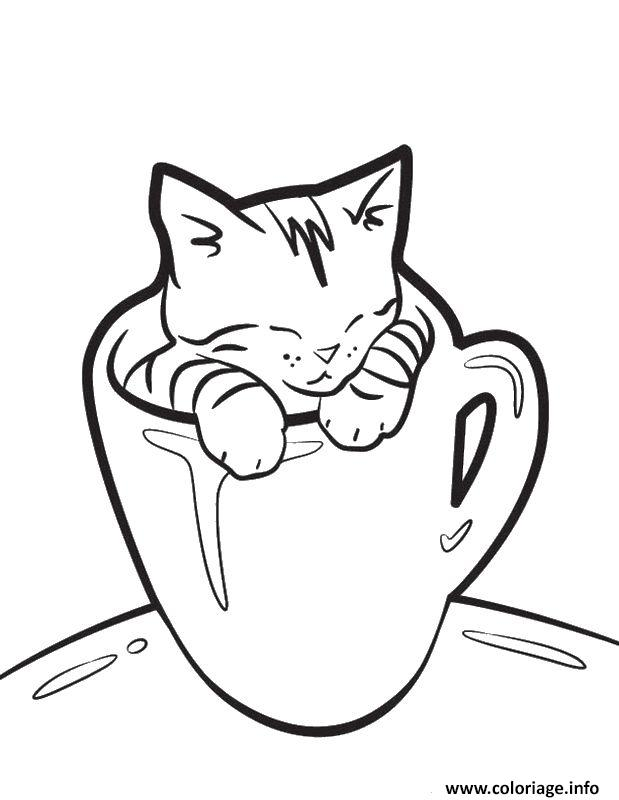 Coloriage dessin tasse a cafe humour avec un chat dessin for Coloring pages of pussy