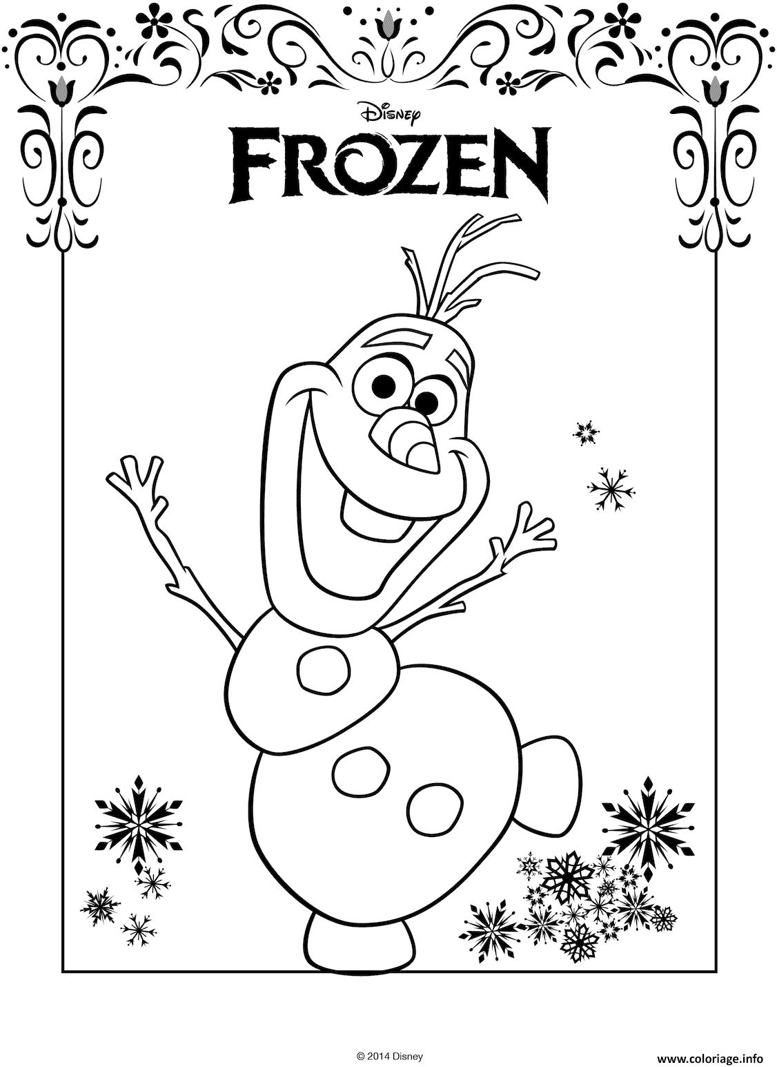 Coloriage olaf avec logo frozen de disney - JeColorie.com