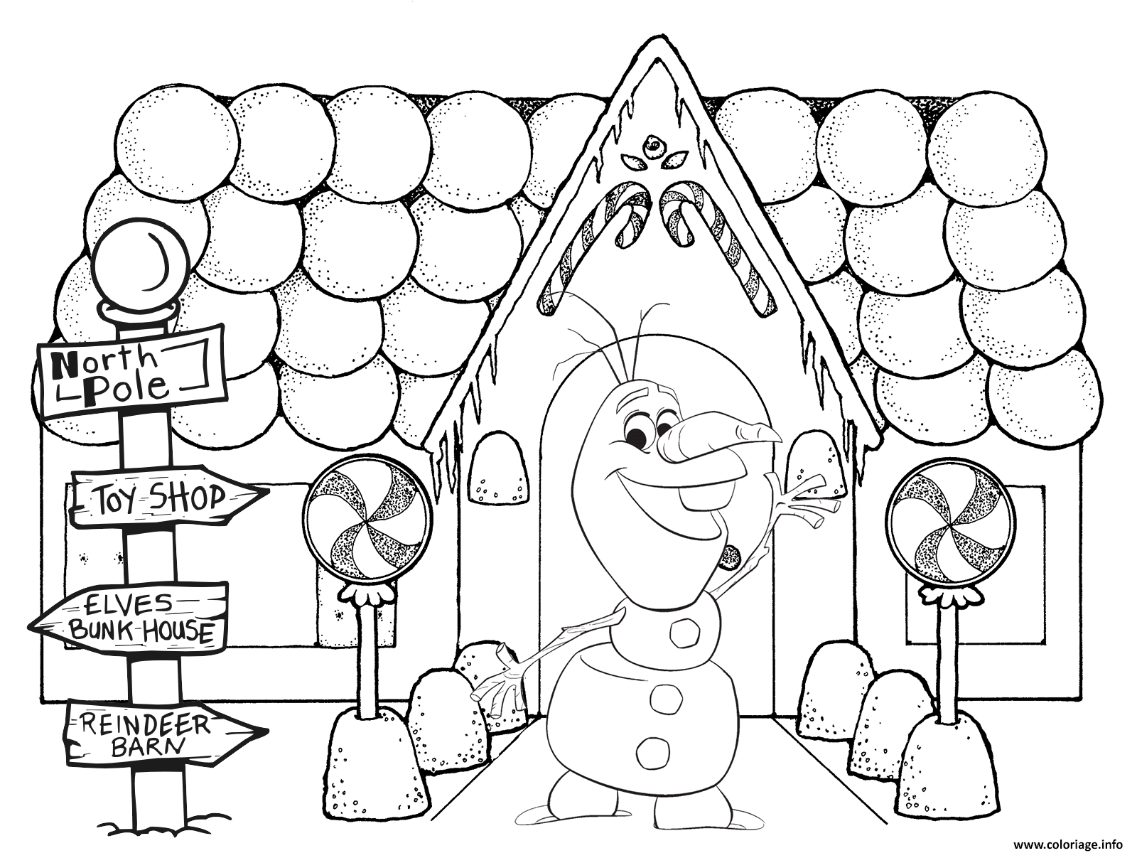 coloriage olaf noel frozen maison. Black Bedroom Furniture Sets. Home Design Ideas